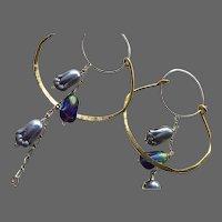 Silver Bronze hoop earrings tulip bead dangle drop Gem Bliss