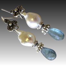 Moss Aquamarine Earrings, Baroque Pearl, Silver Earrings, Camp Sundance, Gem Bliss