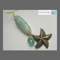 Mermaid Amazonite Apatite sea star charm Camp Sundance drop earring