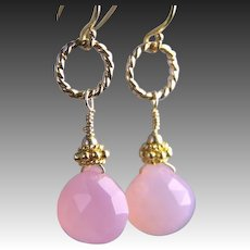 Pink Chalcedony drop earrings caviar vermeil beads Camp Sundance