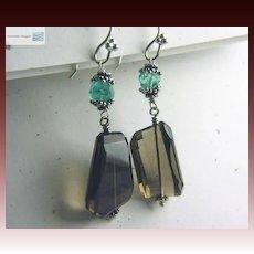 Apatite Smokey Quartz drop earrings sparkling briolettes Bali Camp Sundance