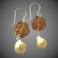 Pearl earrings, Flame ball Pearls, carved flower drop, Gold filled, Baroque Pearls, Camp Sundance jewelry, Gem Bliss