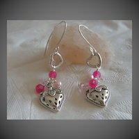 Pink strawberries dangle drop earrings Sterling Silver designer hooks