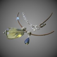 Lemon Citrine huge AAA briolette Lapis Lazuli charm Leather Camp Sundance necklace by Gem Bliss Jewelry