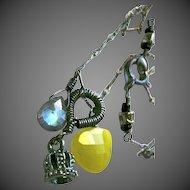 Labradorite necklace Camp Sundance caviar crown mossy olive green Sterling Silver