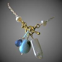 Larimar necklace, Kyanite necklace, Keshi Pearls, charms Necklace, Gold filled, Camp Sundance, Gem Bliss