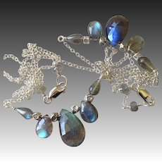 Labradorite Silver necklace crescent Camp Sundance design