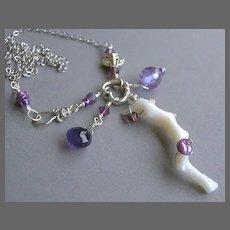 Amethyst buzz Coral branch CZ heart charm Camp Sundance Gem Bliss jewelry necklace