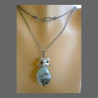 Long Amazonite Keshi necklace Silver pendant Pearls cluster Camp Sundance
