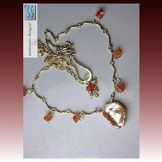 Carnelian Keshi scallop necklace freshwater Petal Pearl 14k Gold filled Camp Sundance