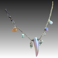 Asymmetrical, Silver necklace, gemstone charms, Camp Sundance, Gem Bliss