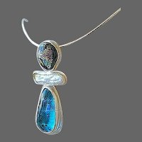 Dichroic, Keshi Pearl pendant, art glass necklace, Silver, Camp Sundance, Gem Bliss