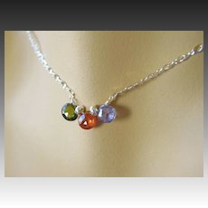 CZ briolettes Green Orange Purple Sterling silver necklace