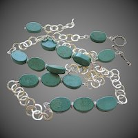 Turquoise Silver necklace, Long 30 inch necklace, Camp Sundance, Gem Bliss