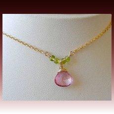 Pink Mystic Quartz Solitaire Peridot accented Camp Sundance Pendant necklace