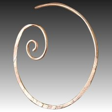 Copper Hoop earrings, spiral coil copper, forged hammered, Camp Sundance