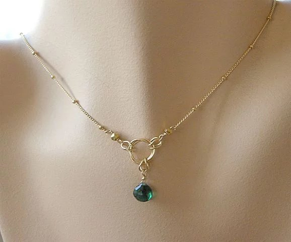 Chrome Diopside Necklace Solitaire Gold Filled Necklace