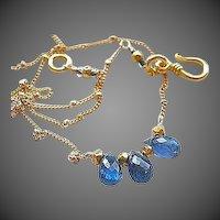 Kyanite necklace, bridal blue, crescent necklace, Camp Sundance wedding jewelry
