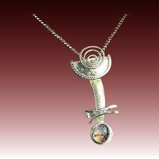 Dichroic glass gem Silver necklace bezel set Camp Sundancependant