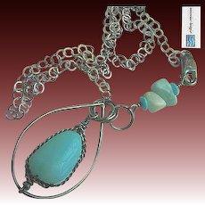 Peruvian Opal Silver necklace, Larimar, Turquoise, pendant, Gem Bliss