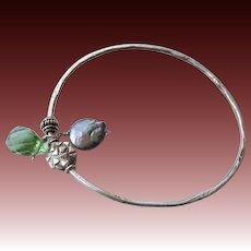 Silver bangle bracelet, charms bangle, Layering bracelet, Coin Pearl, Camp Sundance, Gem Bliss