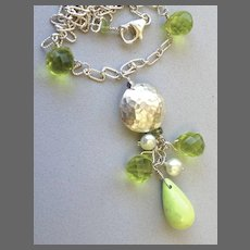Green Pendant Necklace, Gaspeite green Sterling Silver pendant necklace Camp Sundance