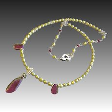 Tourmaline necklace, Silver necklace, green Pearl necklace, Camp Sundance jewelry, Gem Bliss