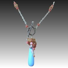 Coral Sunstone Necklace set, blue Peru Quartz embellished necklace SET Camp Sundance, Gem Bliss