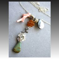 Green Turquoise Coral Amber Keshi necklace asymmetrical Camp Sundance