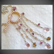 Pearl Eternity Silver necklace Garnet Topaz Camp Sundance toggle