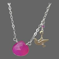 Silver layering necklace, Chalcedony solitaire necklace, hot pink, dove charm, Camp Sundance, Gem Bliss