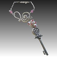 Silver key charm Necklace, cluster pendant, Silver Keshi Pearl necklace, Camp Sundance, Gem Bliss