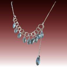 Silver Lariat, Blue Topaz necklace, Silver Necklace, Topaz Lariat, blue lariat, Camp Sundance, Gem Bliss