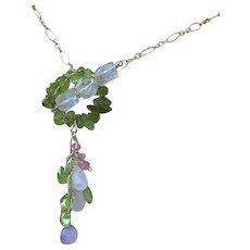 Peridot, Gold filled necklace, Rose quartz, Gem Toggle, August Birthday, Camp Sundance, Gem Bliss