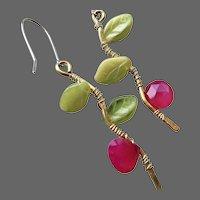 Twig earrings, chalcedony, leaves, Bronze, branch earrings, Silver, Camp Sundance, Gem Bliss