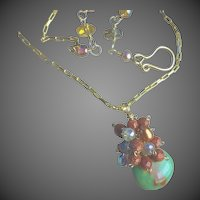 Chrysoprase necklace, Goldstone, cluster necklace, green pendant, Camp Sundance Gem Bliss