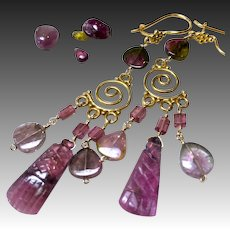 Tourmaline chandelier earrings October birthstone, gift for her, gold earrings, Gem Bliss