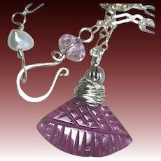 Pink Tourmaline carved fan Silver Necklace Camp Sundance Gem Bliss