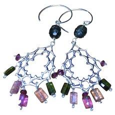 Tourmaline Earrings, Silver Earrings, Tourmaline chandeliers, Gem Bliss Camp Sundance October birthday.
