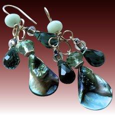 Abalone Amazonite chandelier earrings teal dangle earrings Camp Sundance Gem Bliss