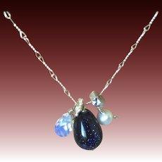 Blue Goldstone Pearl Cluster Necklace Gem Bliss