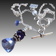 Iolite Trillion pendant, Amethyst and Iolite Sterling Silver necklace Camp Sundance Gem Bliss Jewelry