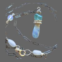 Boulder Opal Necklace, Apatite Pendant, Silver Necklace with Opalite by Gem Bliss