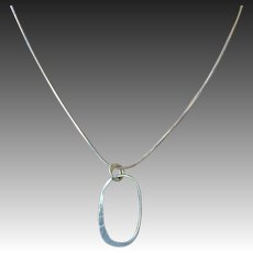 "Oval ""O"" pendant minimalist Silver snake chain necklace by Gem Bliss"