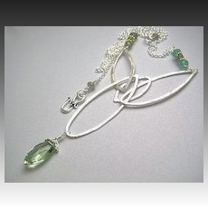 Hand forged Prasiolite Silver necklace green Amethyst marquis 22 inch