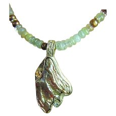 Aquamarine Necklace, Pearl pendant necklace, Camp Sundance, Citrine, Topaz, Baroque Pearl,Gem Bliss