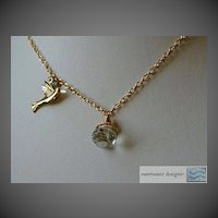 Prasiolite Green Amethyst briolette bird charm Camp Sundance gold filled necklace