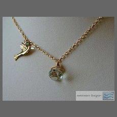 Prasiolite Green Amethyst briolette bird charm Camp Sundance gold filled necklace