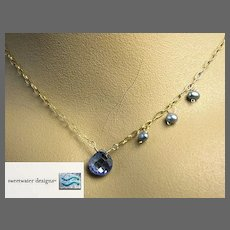 Periwinkle CZ necklace briolette Camp Sundance