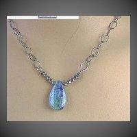 Kyanite solitaire necklace briolette antiqued vintage look Silver Camp Sundance